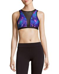 We Are Handsome - Printed Mesh-panel Sports Bra - Lyst