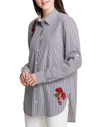 Calvin Klein Embroidered Floral Striped Hi-lo Shirt