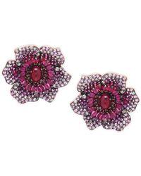 Effy - 14k Rose Gold, Ruby, Pink Sapphire & Diamond Flower Stud Earrings - Lyst