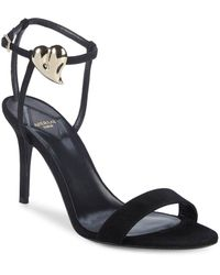 eef3cd43ff86 Lyst - Gianvito Rossi Heart Patent 105mm Sandal in Black