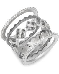 Freida Rothman - Contemporary Deco Cubic Zirconia And Sterling Silver Crown Ring - Lyst