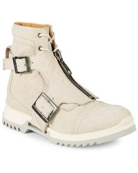 DIESEL - Leather Buckle Boots - Lyst