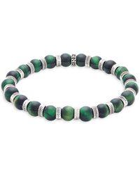 Perepaix - Stainless Steel & Green Tiger's Eye Beaded Bracelet - Lyst
