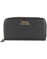 Versace - Textured Leather Zip-around Wallet - Lyst