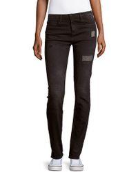 Brockenbow Irina Slim-fit High-waist Patchwork Jeans - Black