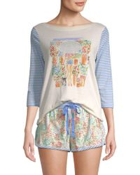 Jane And Bleecker - Two-piece Striped Graphic Shorty Pajama Set - Lyst