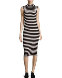 ATM - Striped Ribbed Dress - Lyst