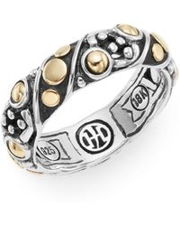 John Hardy - Jaisalmer Dot Yellow Gold & Sterling Silver Twist Band Ring - Lyst