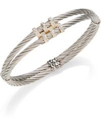 Alor - Classique Diamond & 18k Yellow Gold Double Cable Bracelet - Lyst