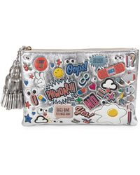 Anya Hindmarch - Graphic Tassel Metallic Leather Pouch - Lyst