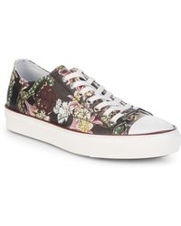 Roberto Cavalli - Flower-print Leather Low-top Sneakers - Lyst