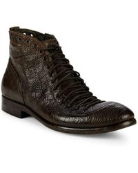 Jo Ghost - Textured Leather Lace-up Boots - Lyst
