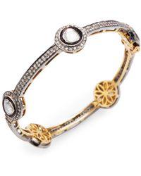 Arthur Marder Fine Jewelry - Silver & Rose-cut Diamond Bangle Bracelet - Lyst