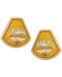 Hermès - Vintage Goldtone Art Deco Clip-on Drop Earrings - Lyst