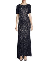 Adrianna Papell - Sequin Lace Mermaiddress - Lyst