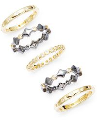Freida Rothman - Harlequin Five-piece Stackable Ring Set - Lyst