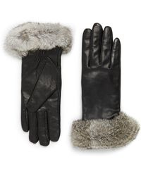 Surell - Leather & Rabbit Fur Gloves - Lyst