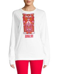 Anna Sui - Pussycat Graphic Cotton Tee - Lyst