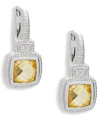 Judith Ripka - Natalie Sterling Silver, Canary Crystal & White Topaz Cushion Drop Earrings - Lyst