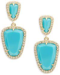 ABS By Allen Schwartz - Going Coastal Turquoise & 12k Goldplated Double Drop Earrings - Lyst