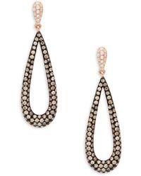 Effy - 14k Rose Gold & Diamond Teardrop Earrings - Lyst