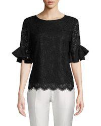 Nanette Nanette Lepore - Frill-sleeve Floral Lace Top - Lyst