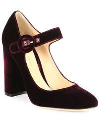 5039082d4bd4 Gianvito Rossi - Lorraine Velvet Mary Jane Block Heel Court Shoes - Lyst