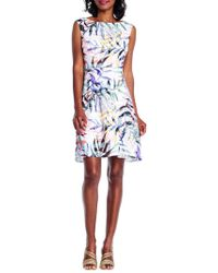 Adrianna Papell - Plus Printed Fit-and-flare Dress - Lyst