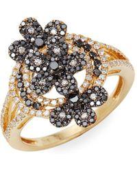 Effy - 14k Yellow Gold, White & Black Diamond Ring - Lyst