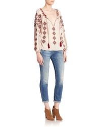 Love Sam - Embroidered Peasant Top - Lyst