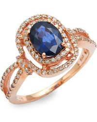 Effy - 14k Rose Gold, Natural Diffused Ceylon Sapphire & Diamond Ring - Lyst