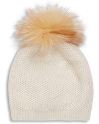 Portolano - Wool Blend Fur Pom-pom Hat - Lyst