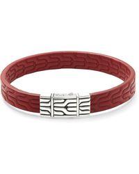 John Hardy - Silver Embossed Leather Bracelet - Lyst
