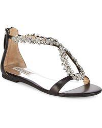 Badgley Mischka - Haynes Embellished Metallic Leather Flat Sandals - Lyst