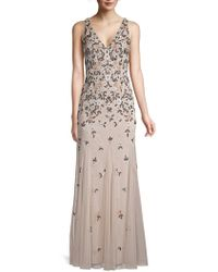 Adrianna Papell - Beaded Floral Gown - Lyst