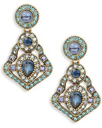 Heidi Daus - Multicolored Crystal & Faux Pearl Antique Drop Earrings - Lyst