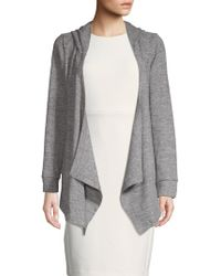 Lea & Viola - Hacci Hooded Open Front Cardigan - Lyst