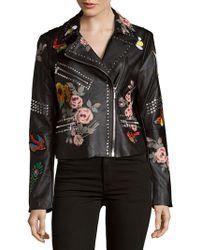 Bagatelle - Studded Floral Moto Jacket - Lyst