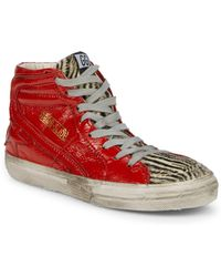 1e0df069a708 Golden Goose Deluxe Brand - Animal Print Calf Hair High Top Leather Sneakers  - Lyst