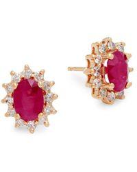 Effy - Diamond, Ruby & 14k Yellow Gold Statement Earrings - Lyst