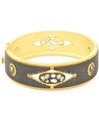 Freida Rothman - Crystal And Sterling Silver Hinged Bracelet - Lyst