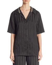 Alexander Wang - Crystal-trim Striped Short-sleeve Pyjama Top - Lyst