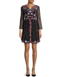 French Connection - Edith Sequin And Embroidery Dress - Lyst