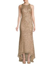 Adrianna Papell - Sequin-embellished Sleeveless Gown - Lyst