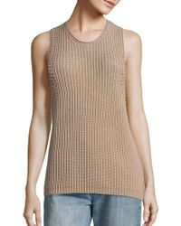 Vince - Waffle-knit Sleeveless Cotton Sweater - Lyst
