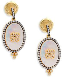 Freida Rothman - Mother-of-pearl, Pavé Crystal & Sterling Silver Clover Earrings - Lyst