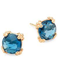 Anzie - Dew Drop 14k Yellow Gold & Blue Topaz Stud Earrings - Lyst