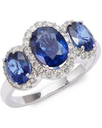 Effy - Ceylon Sapphire Ring With Diamonds In 14 Kt. White Gold - Lyst