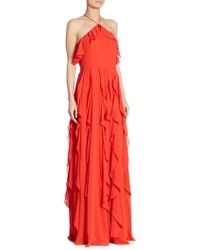 Kay Unger - Solid Ruffled Halterneck Gown - Lyst