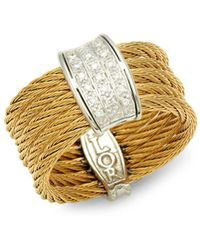 Alor - 18k Gold, Stainless Steel & Diamond Textured Ring - Lyst